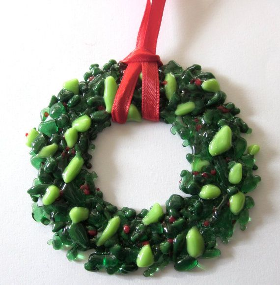 Christmas Wreath Green Ornament Fused Glass Fused Glass Ideas
