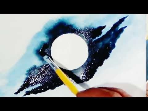 Drawing of the moon | watercolour painting|Beginners' landscape - YouTube
