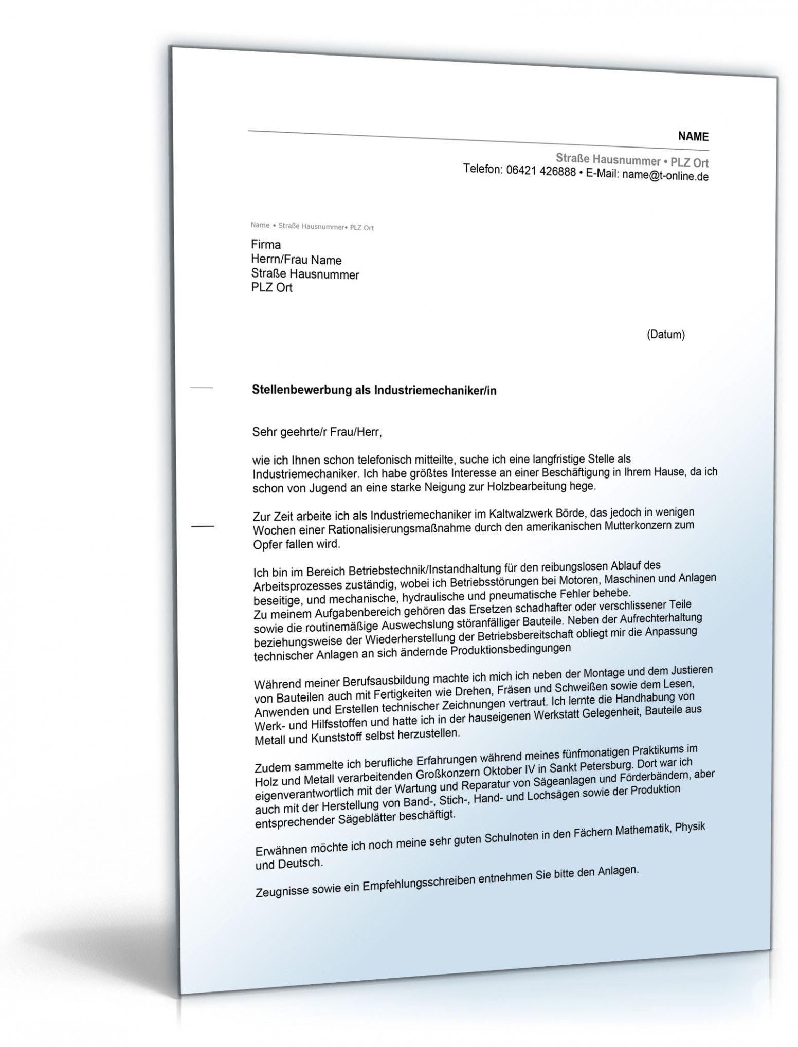 Industriemechaniker Bewerbung Vorlage Lebenslauf Vorlagen Lebenslauf Briefvorlagen