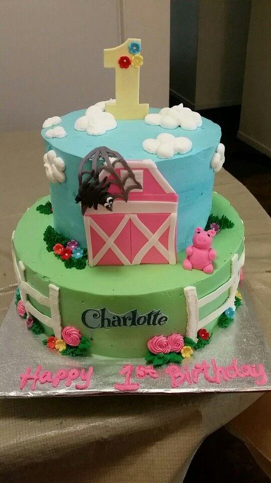 Charlotte S Web Theme Cake Happy 1st Birthday Charlotte