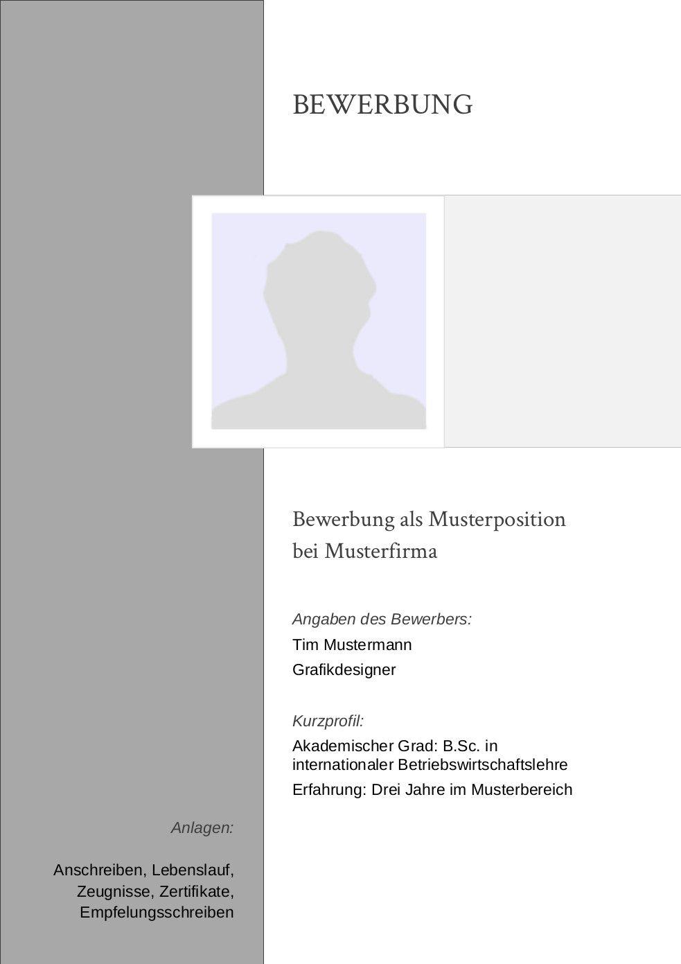 Bewerbung: Deckblatt Muster Vorlage 18 | Lebenslauf Designs | New ...