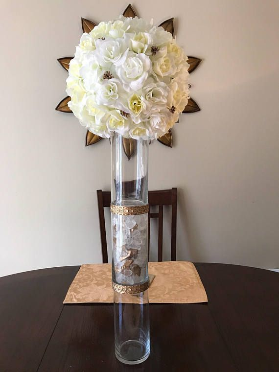 Elegant Gold Centerpiece Tall Wedding Centerpiece Gold Vase Tall