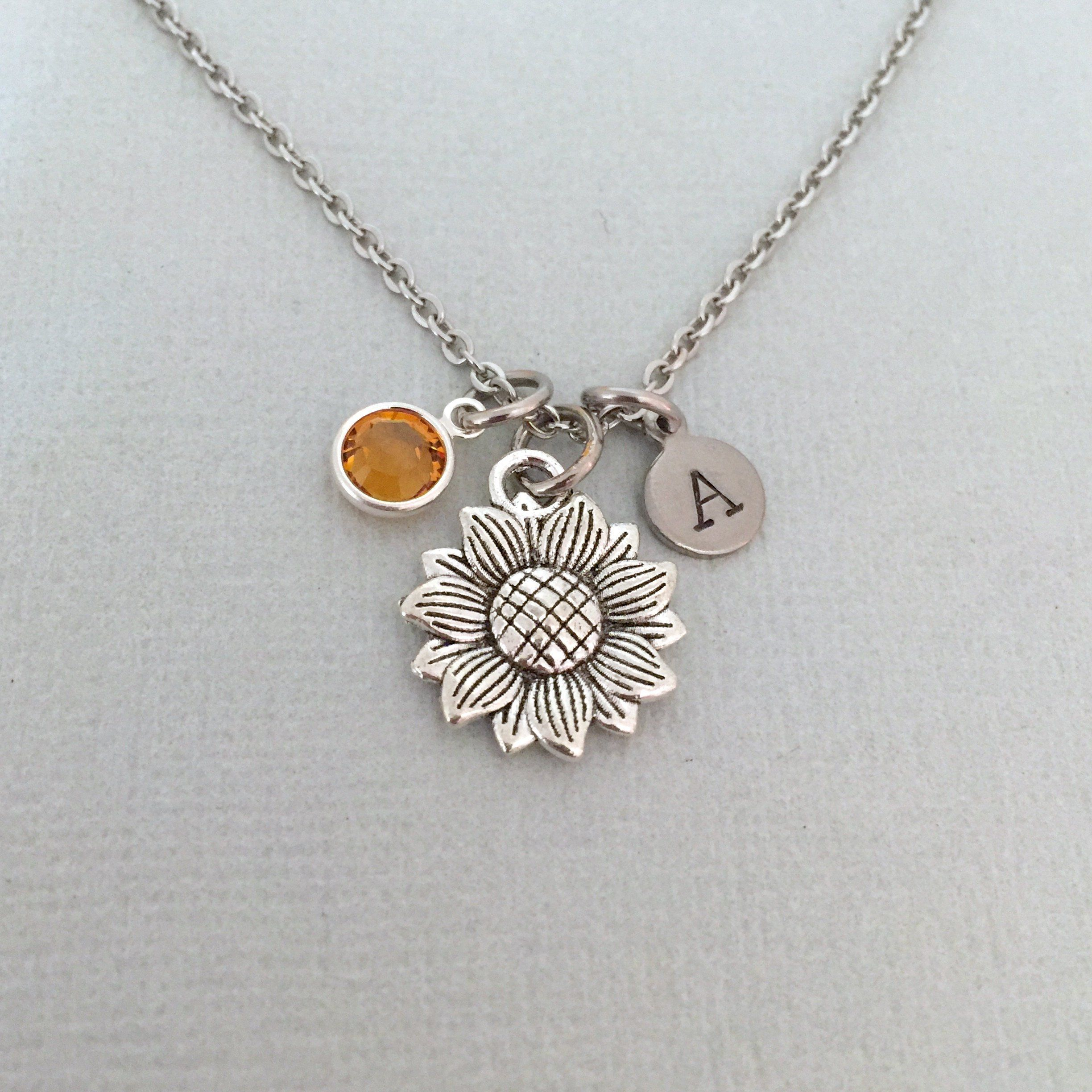 initial necklace flower jewelry flower necklace personalized necklace sunflower jewelry Sunflower charm necklace