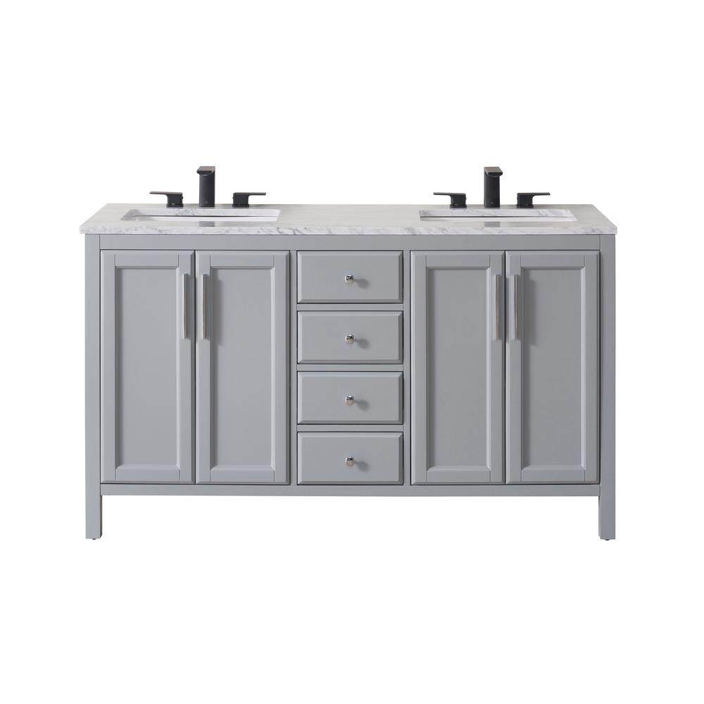 Stufurhome Wright 59 In Bath Vanity In Grey With White Marble