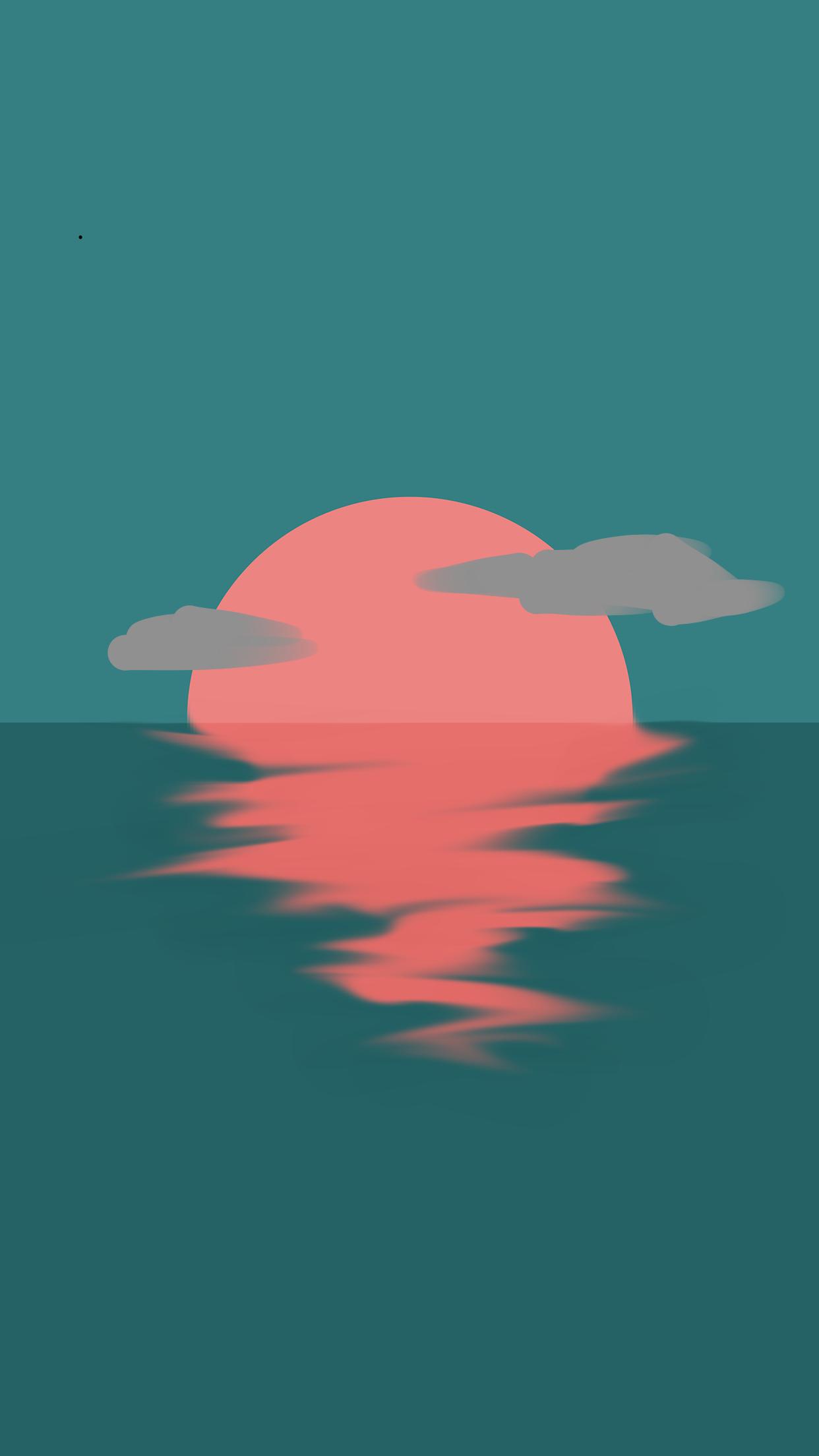 Minimalistic ocean sunset, Me, digital, 2019