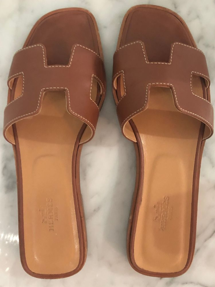 Hermes Oran Sandal Brown 37.5 #fashion #clothing #shoes