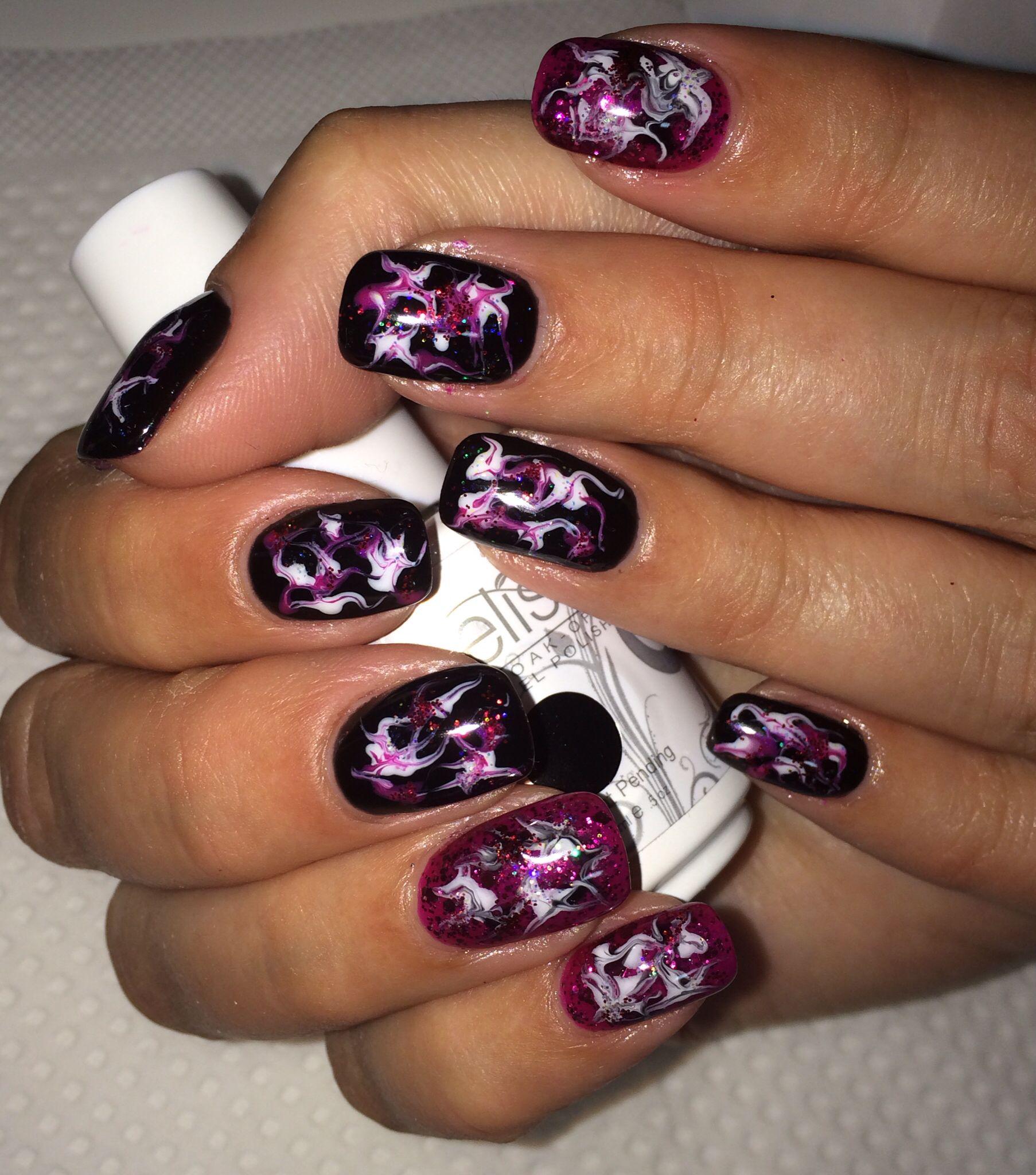 Black Pink Abstract Nails Gel Nail Art Nail Ideas Gel Nail Art
