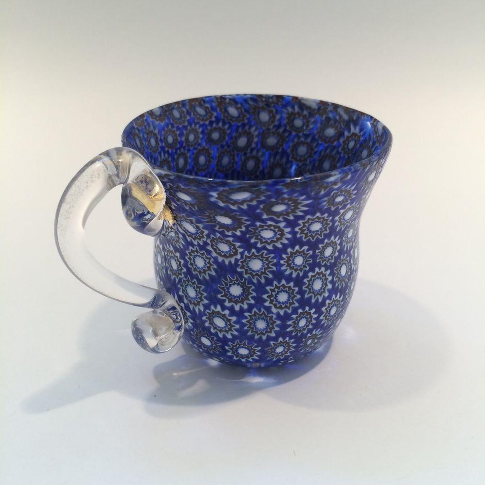 Vintage Murano Packed Millefiori Handmade Art Glass Espresso Tea Cup Shot Glass