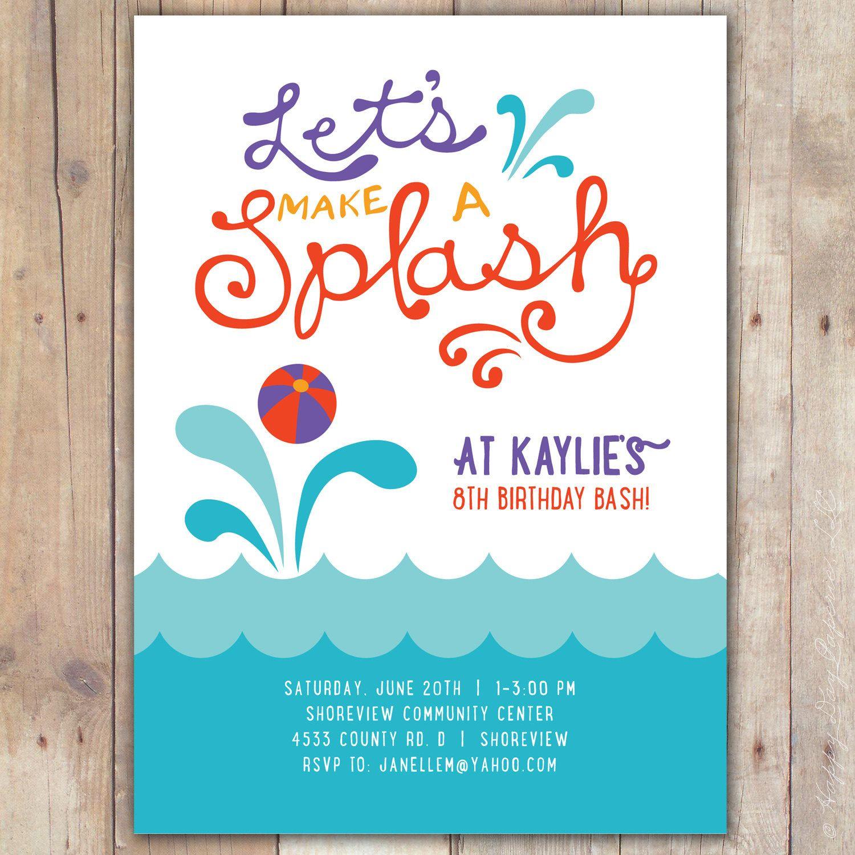 Splash Custom DIGITAL Birthday Pool Party By KimNelsonCreative 1500