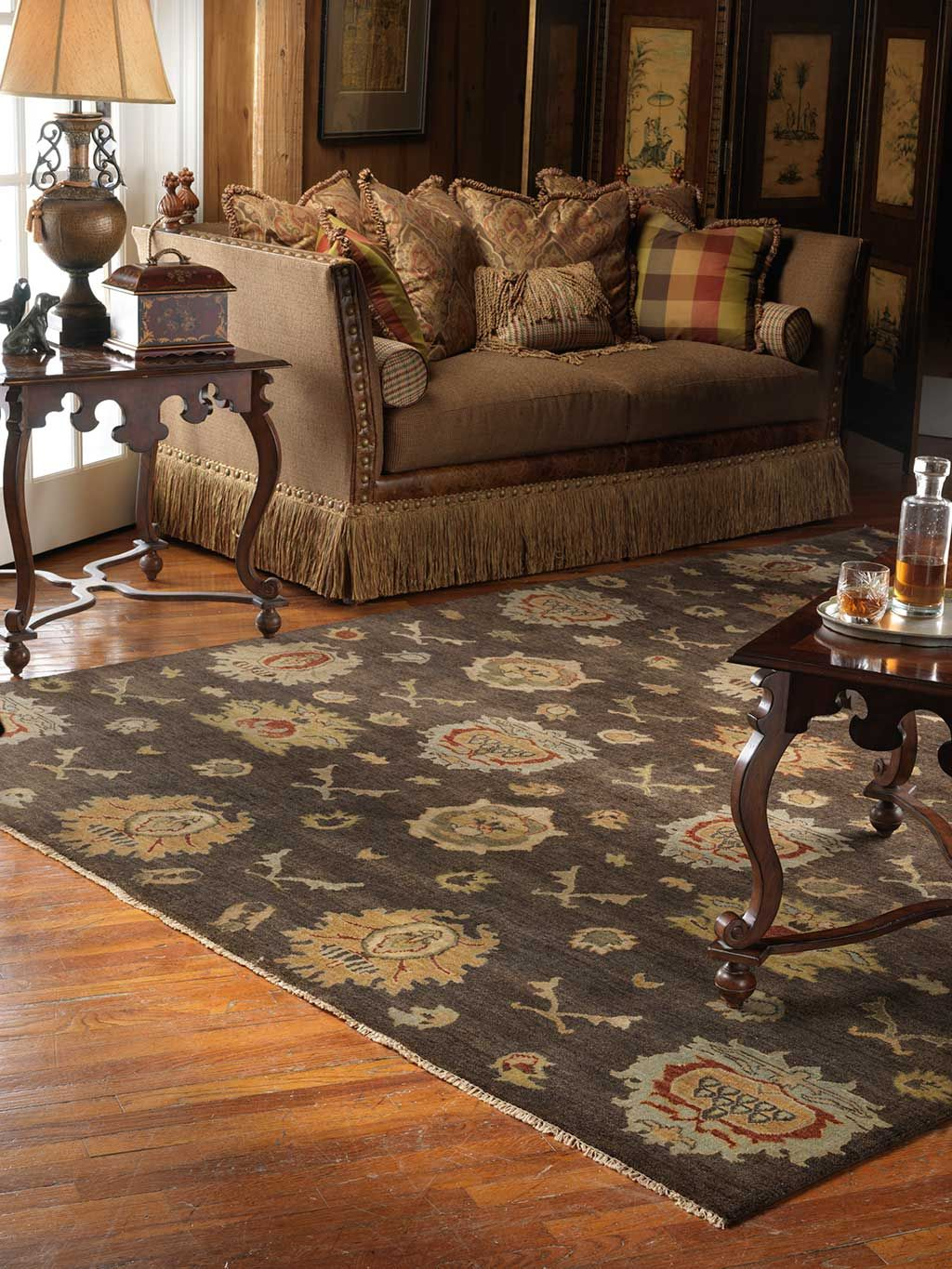 Hand knotted rug in its deep rich color is a perfect piece