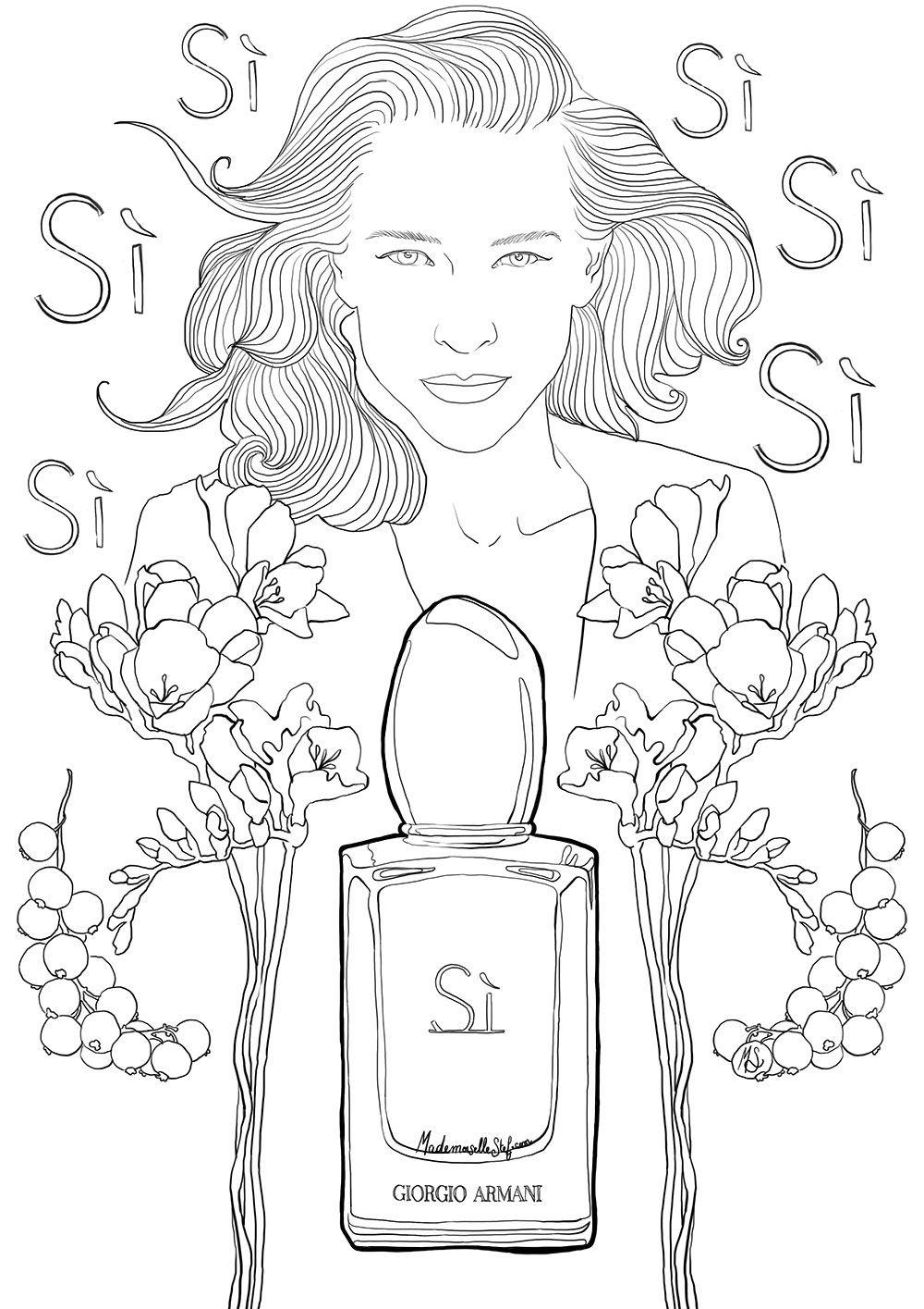 Coloriage pour adulte : Parfum SI de Giorgio Armani | Pages À Colorier | Pinterest | Coloriage ...