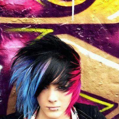Emo Boy Blue Black And Pink Hair Hair Styles Medium Hair