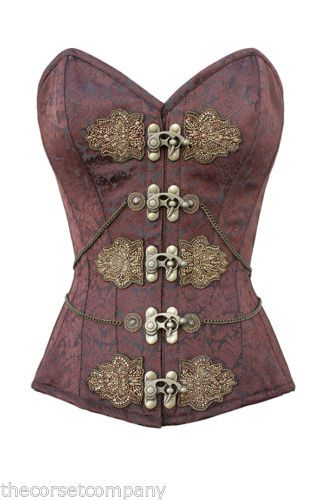 a1c9ae0bdf Brown Brocade Classic Victorian Steampunk Overbust Steel Boned Corset With  Chain