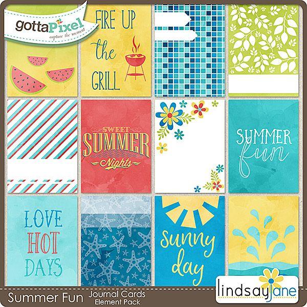 Summer Fun Journal Cards :: Gotta Pixel Digital Scrapbook Store by Lindsay Jane  $2.00