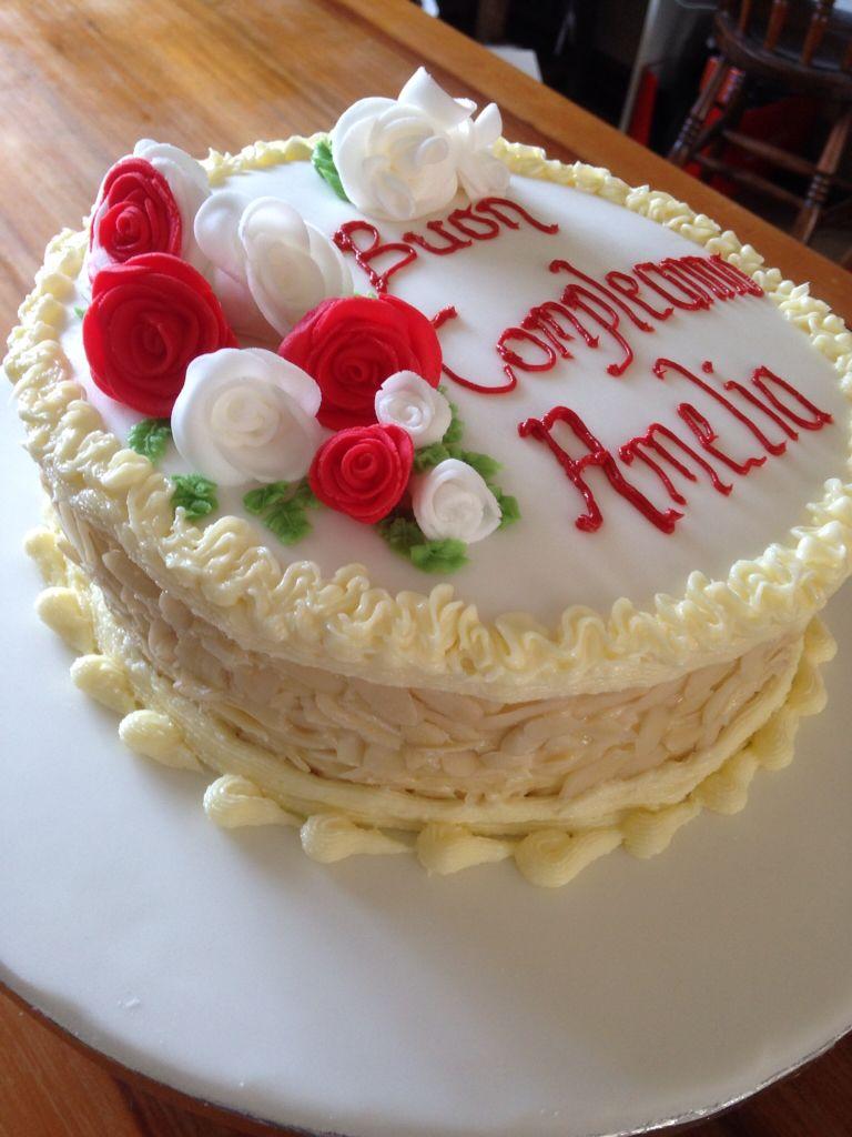 An italian scribed almond birthday cake celebration
