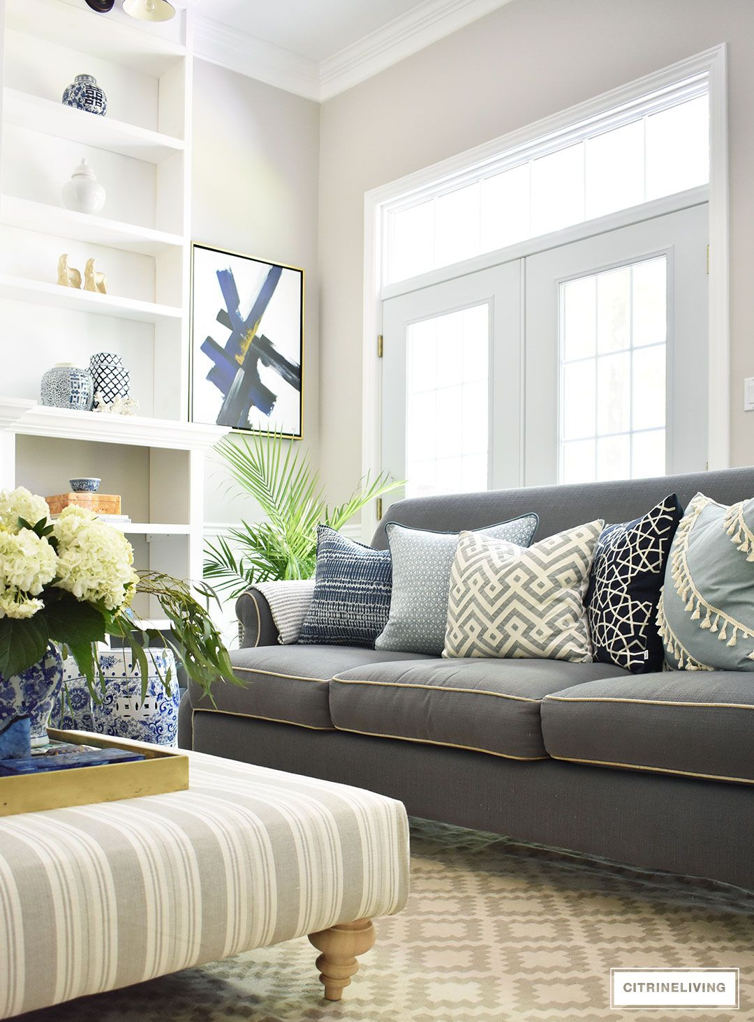 Shades Of Summer Home Tour With Beautiful Blues And Fresh Greenery Living Room Decor Gray Brown Couch Living Room Living Room Green