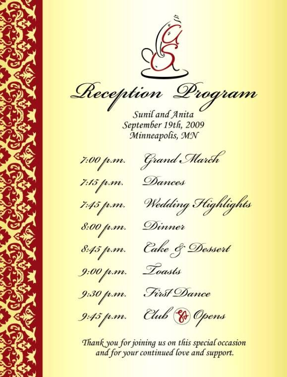 Love this one most of all Reception Ideas Pinterest Wedding - sample agenda