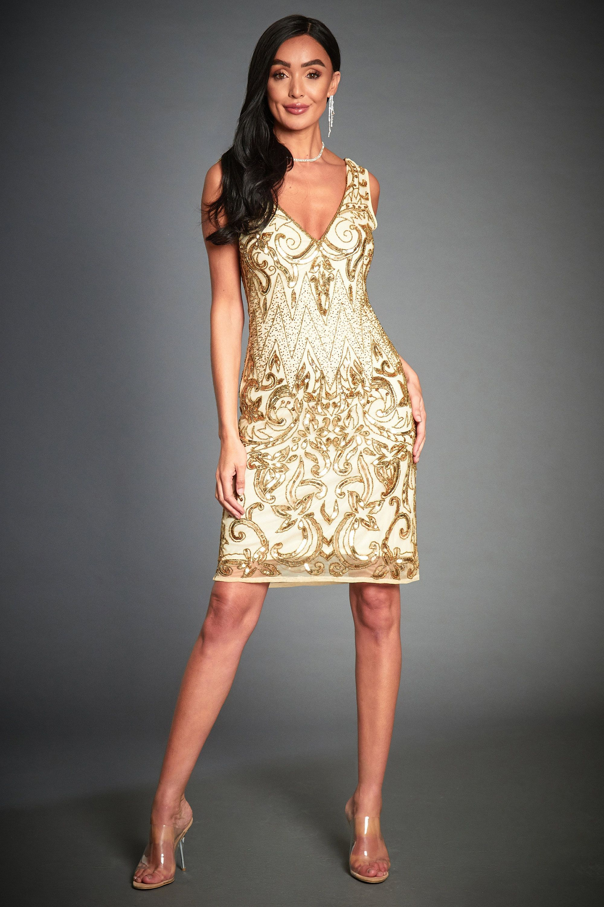 Angie gold flapper dress great gatsby inspired 1920s