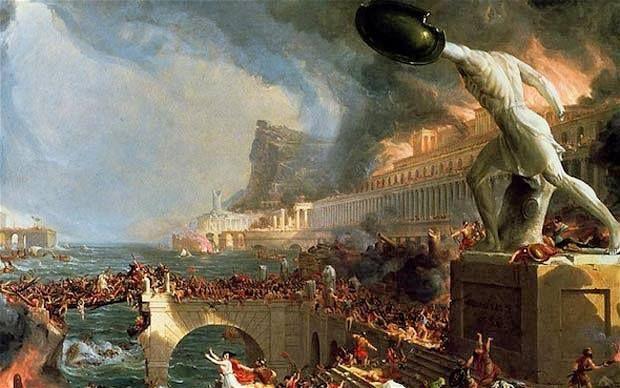 No dia 04 de setembro de 476, ocorre a chamada Queda de Roma, delimitando o início da Idade Média.  Na imagem, destruição do Império Romano, de Thomas Cole, pintura do século XIX.