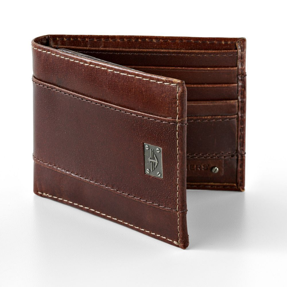 Dockers® Leather Traveler Wallet Mens brown leather