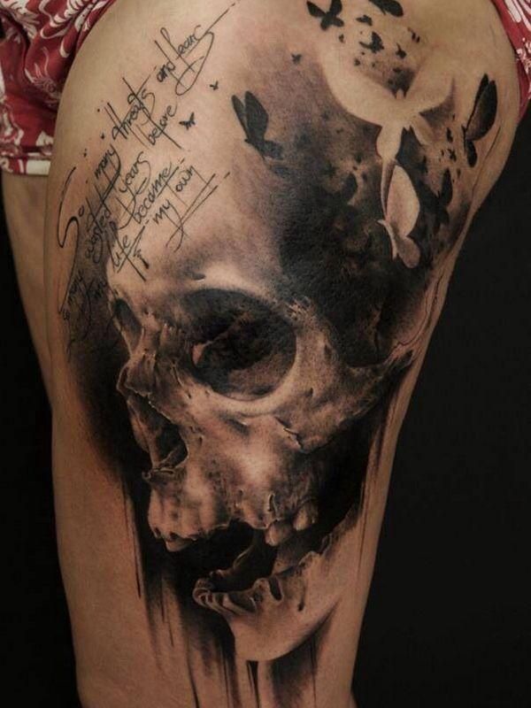 40 Best Skull Tattoo Designs Skull Thigh Tattoos Skull Tattoo Design Tattoos