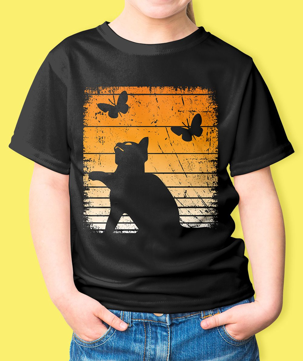 86cc2d15 Black cat costume Halloween Kitty T-Shirt With Retro colors distressed  design make this the