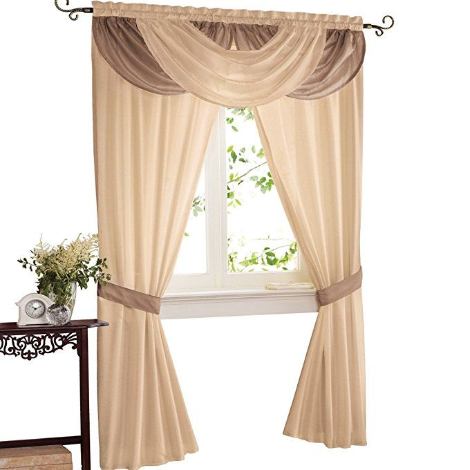 Amazon Com Elegant Patricia Rod Pocket Valance And 2 Panels With