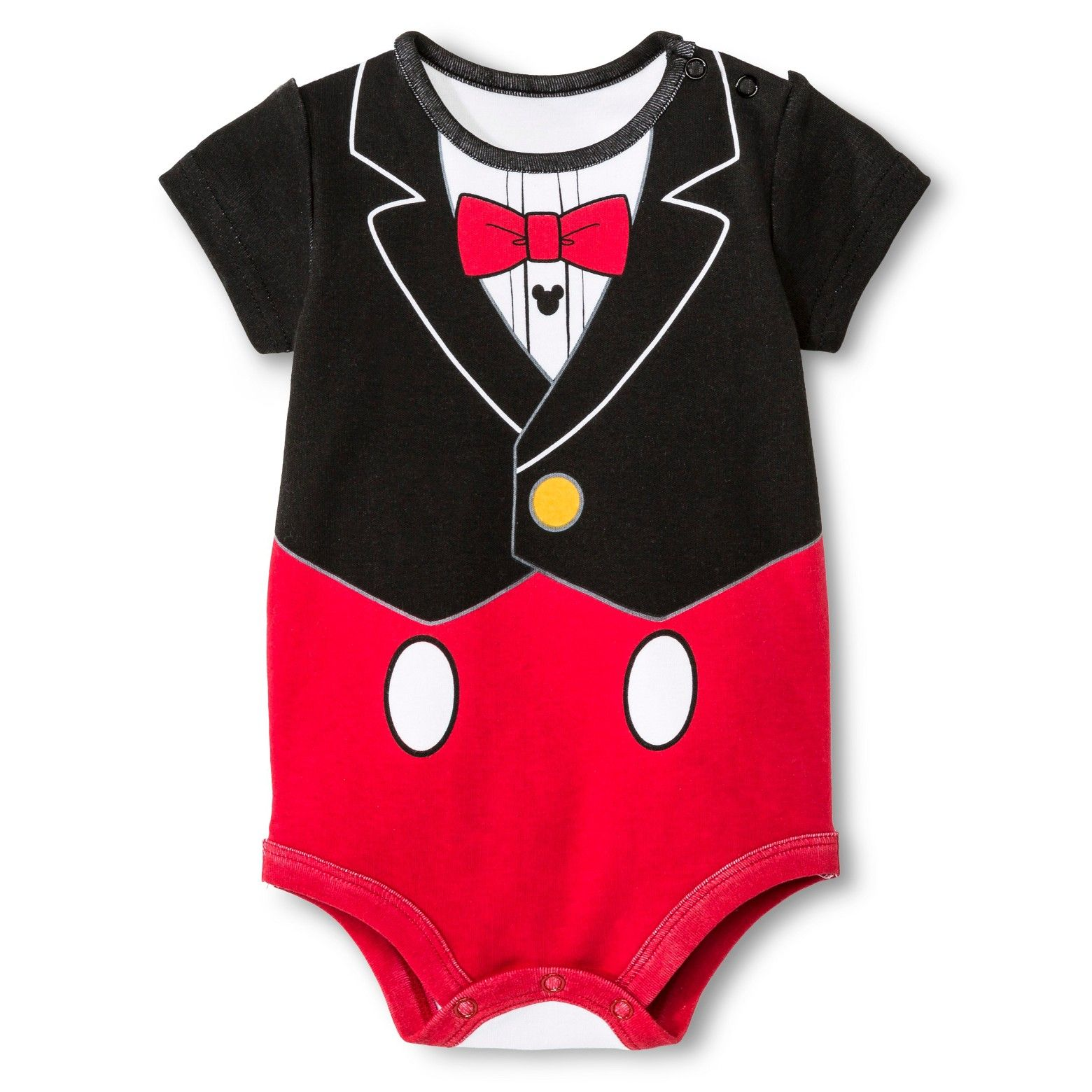 This Disney Baby Boys' Mickey Mouse Bodysuit in Red is