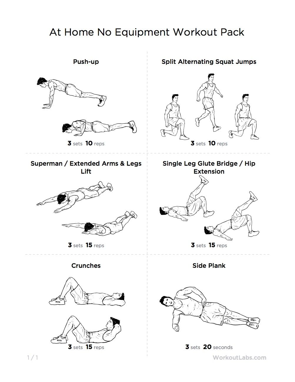 Ultimate At Home No Equipment Workout Pack For Men Women