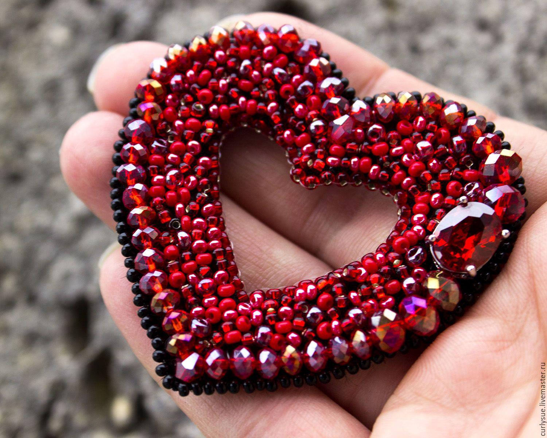 Сердечко вышивка бисером