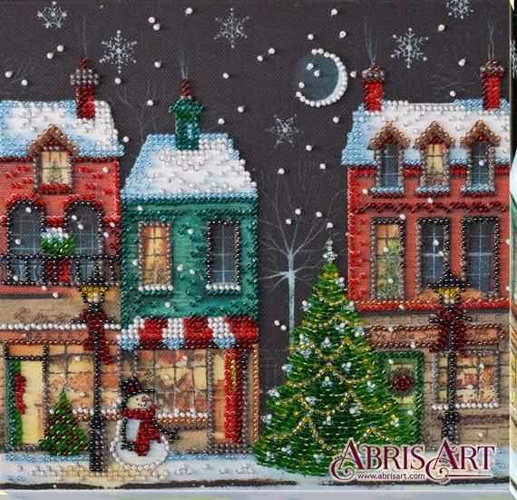 Christmas Street Diy Bead Embroidery Kit Winter Holiday Town Etsy Diy Bead Embroidery Needlepoint Kits Embroidery Kits