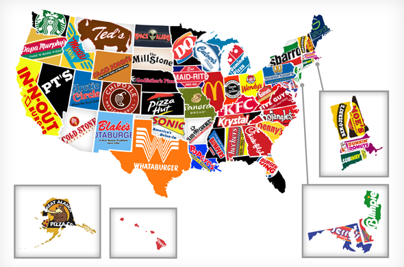 Red White And Food A Map Of Each US States Biggest Fast Food - Us map trivia