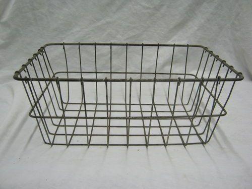 Antique Industrial  Wire Basket Gym Locker Candy General Store Metal      652-12