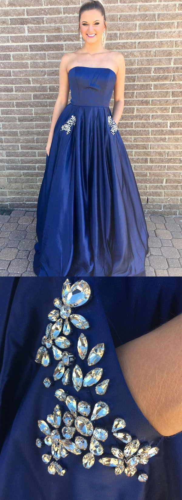 Princess strapless royal blue long prom dress with pockets pg