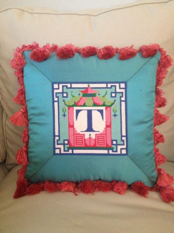 Kate Dickerson chinoiserie alphabet letter, stitched by Tunstall Bagley