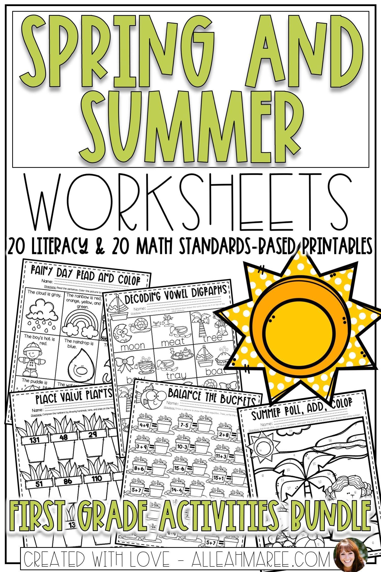 Spring Amp Summer Worksheets Bundle For First Grade
