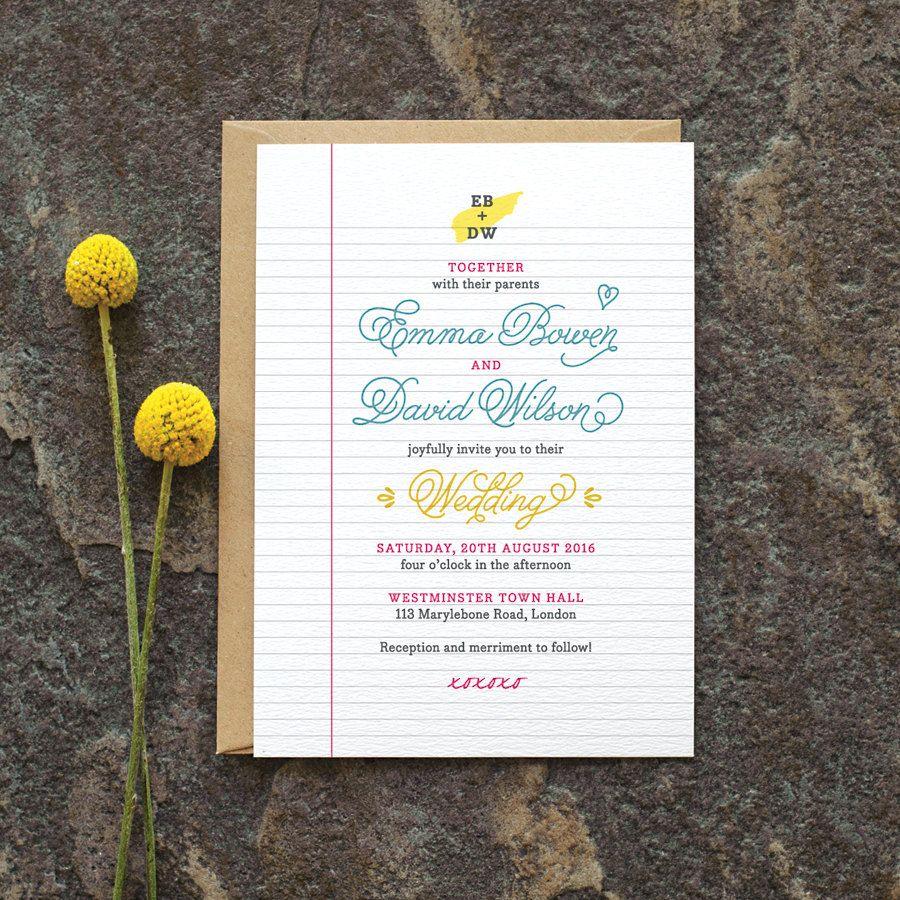 Retro Wedding Invitation / \'School Notebook\' with Library Card Fun ...