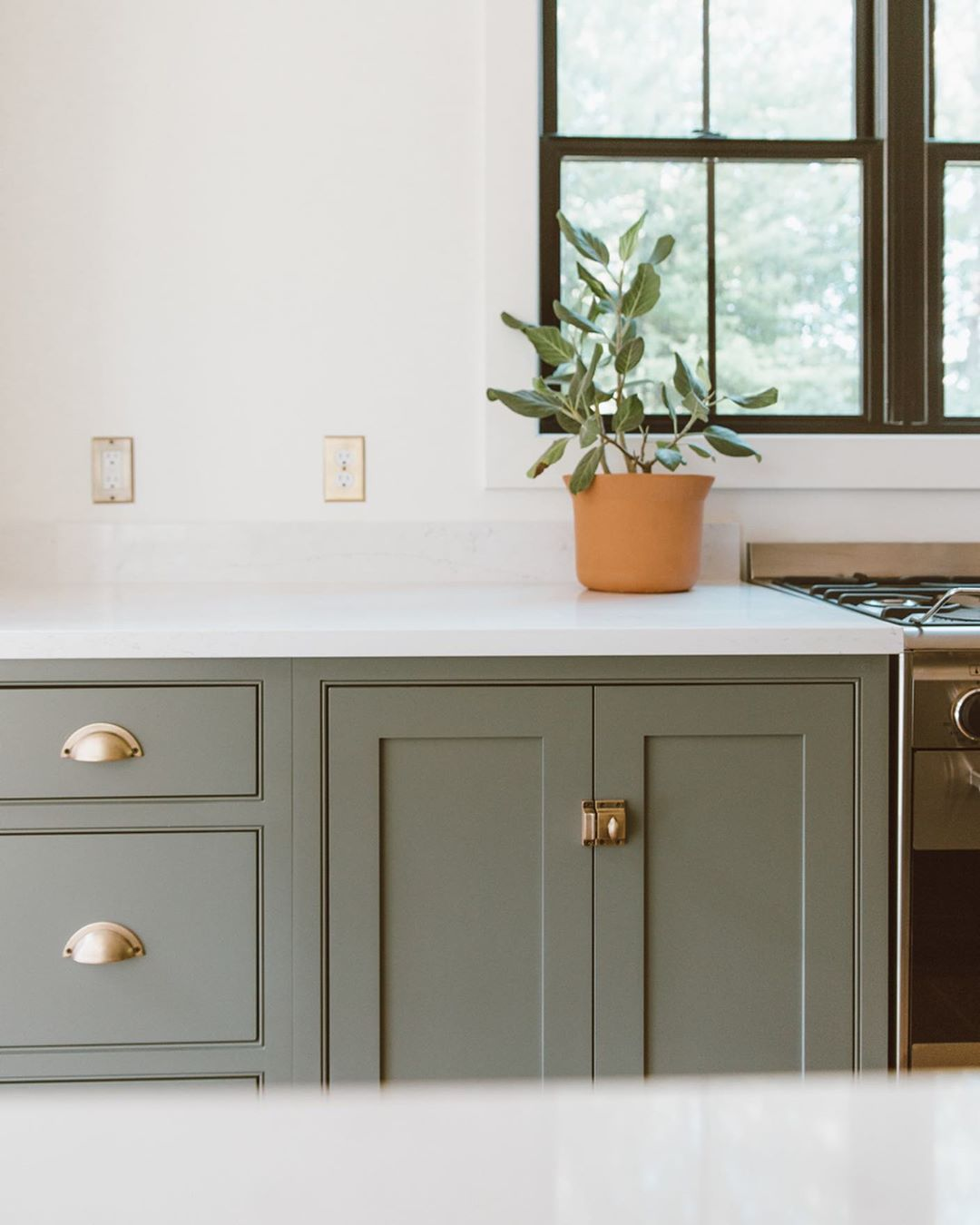Christine On Instagram Cabinet Hardware Is Everything We Love How Our Nostalgicwa In 2020 Sage Green Kitchen Green Kitchen Cabinets Farmhouse Kitchen Cabinets