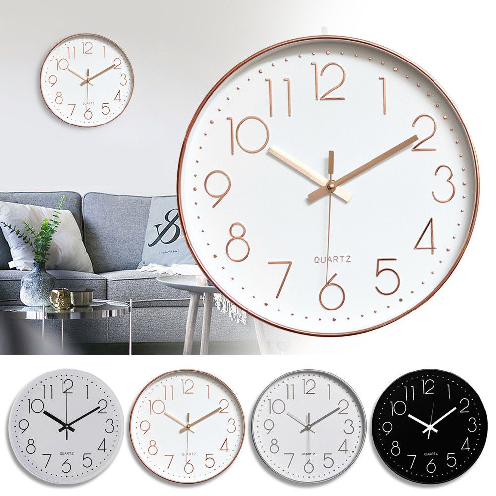 Non Ticking Wall Clock 12 Inch Round Silent Quartz Battery Operated Home Decor Clock Ideas Of Clock Clock Non Ticking Wall Clock 12 In Clock In 2019 Clock Wall Decor