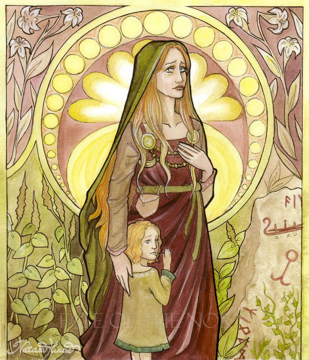 Norse goddess Nanna, mother of Forseti, god of justice and reconciliation, and wife of Baldr.  After Baldr's death she dies of grief, and her body is placed on Baldr's ship with his corpse and the two are set aflame and pushed out to sea.