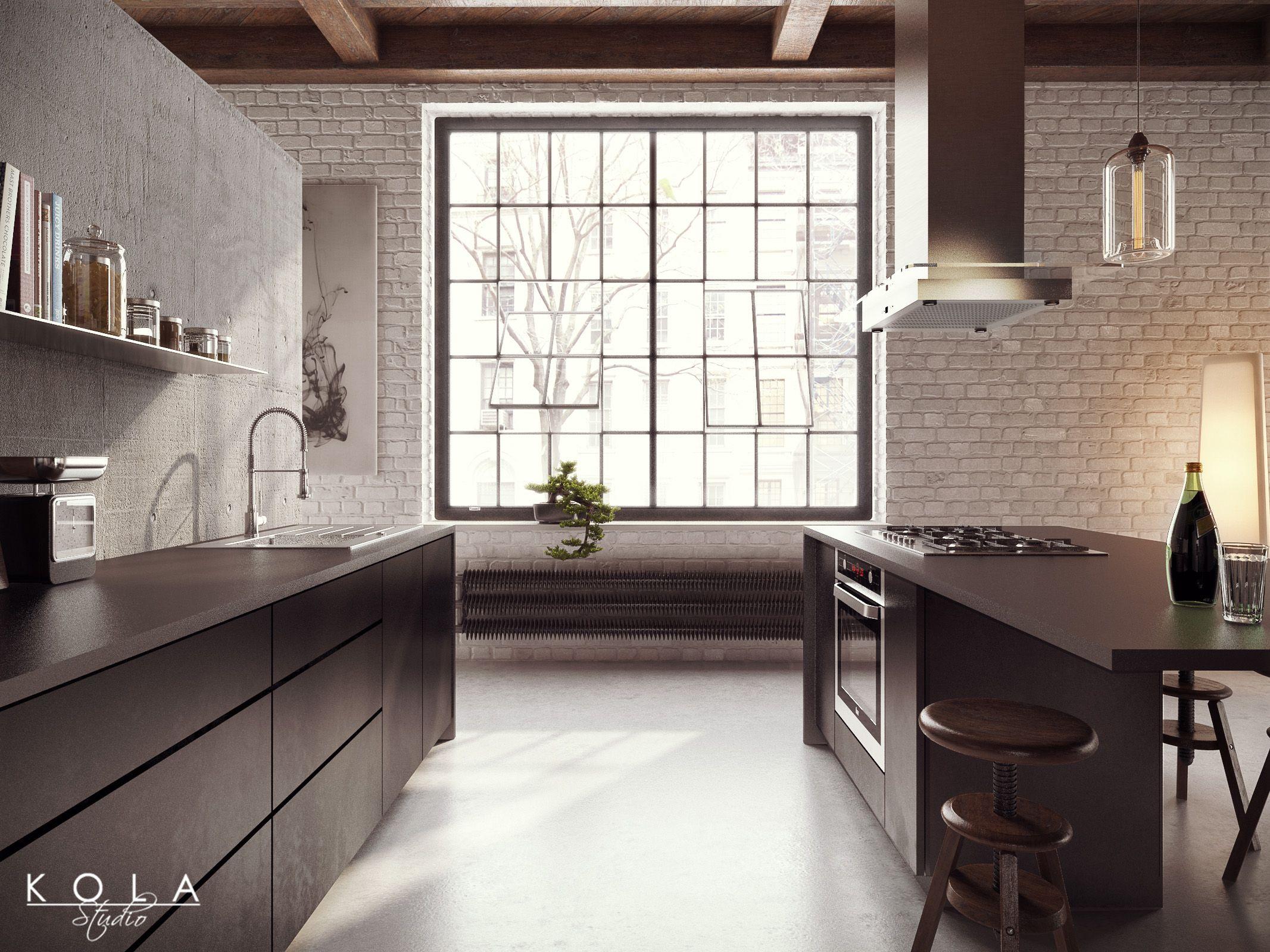 loft kitchen visualization design kola studio tags wooden ceiling concrete wall polished. Black Bedroom Furniture Sets. Home Design Ideas