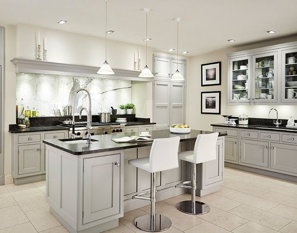 Best Light Gray Cabinets Black Counters And White Floor 640 x 480