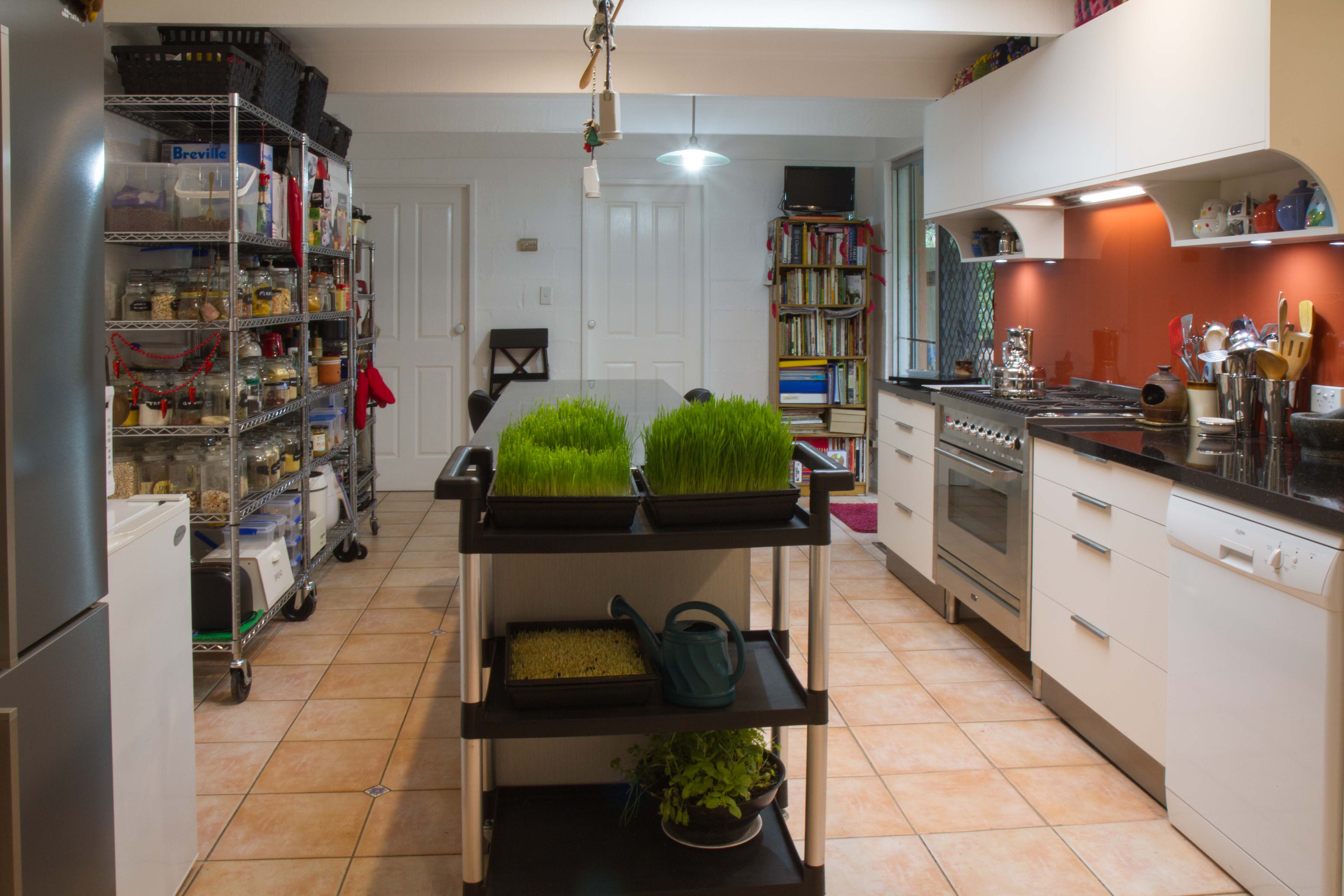 Semi Industrial Kitchen With Open Pantry And Mobile Herb Garden