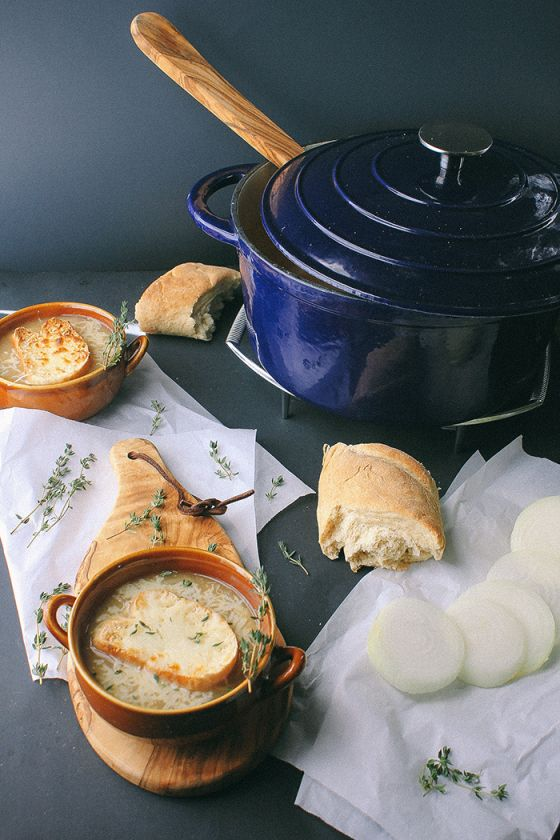 {French onion soup.}