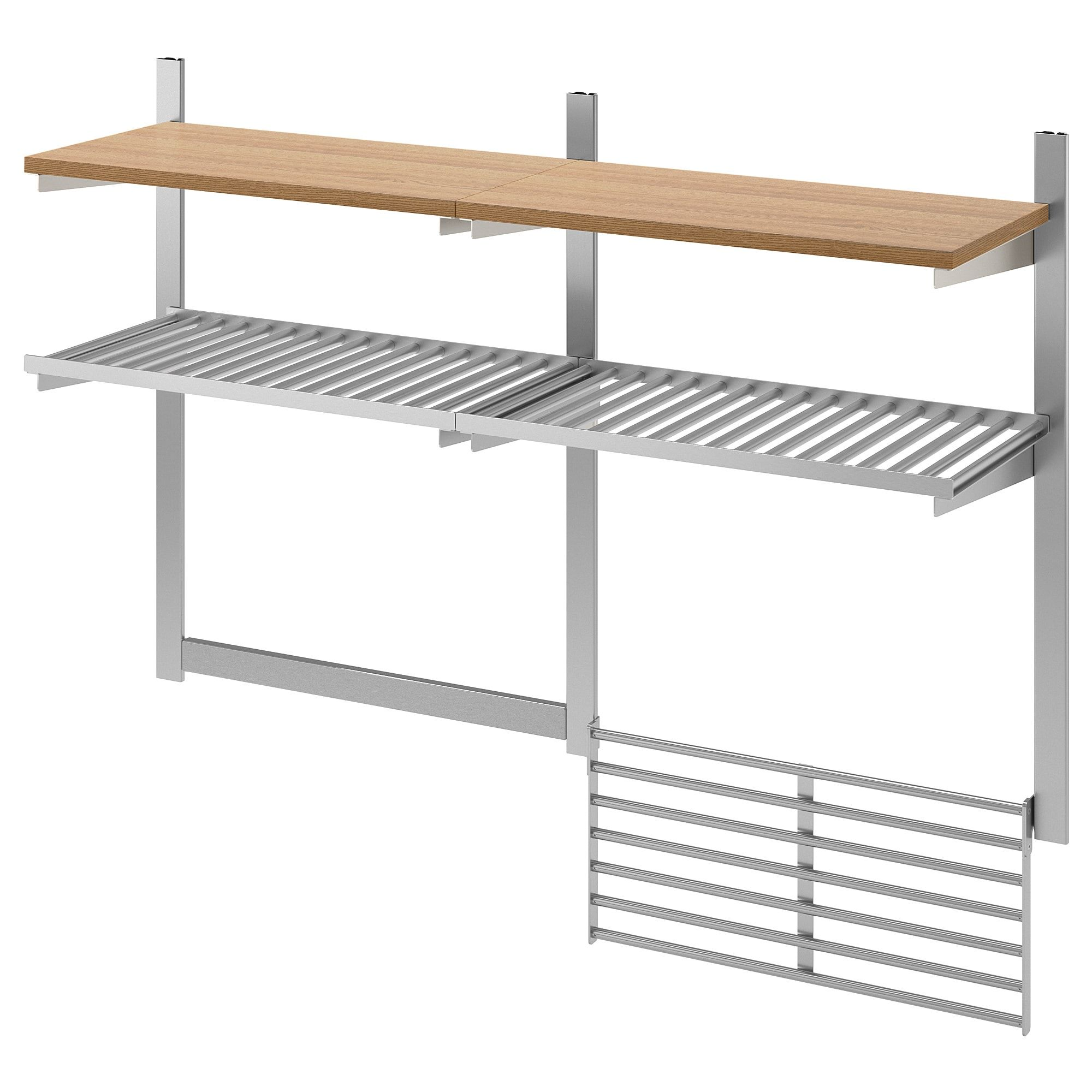Kungsfors Wall Storage With Grid Knife Rack Stainless Steel