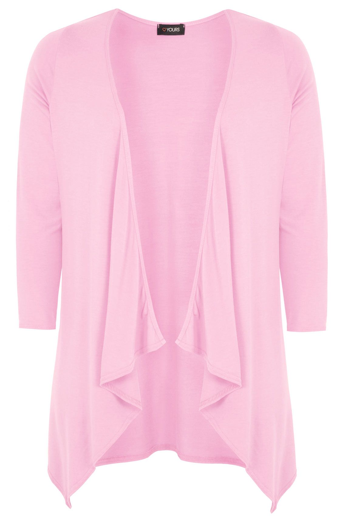 Pastel Pink Edge To Edge Waterfall Jersey Cardigan | YOURS ...