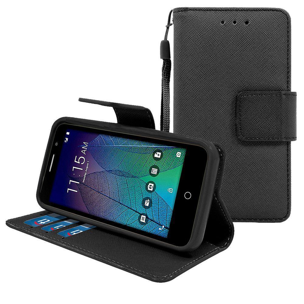 Alcatel Tru / Stellar / 5060 / POP 3 Leather Wallet Pouch Case Cover Black
