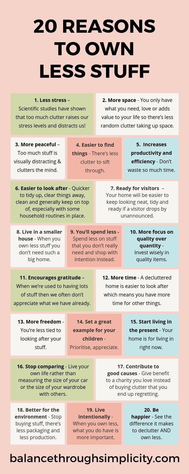 20 reasons to own less stuff - Balance Through Simplicity