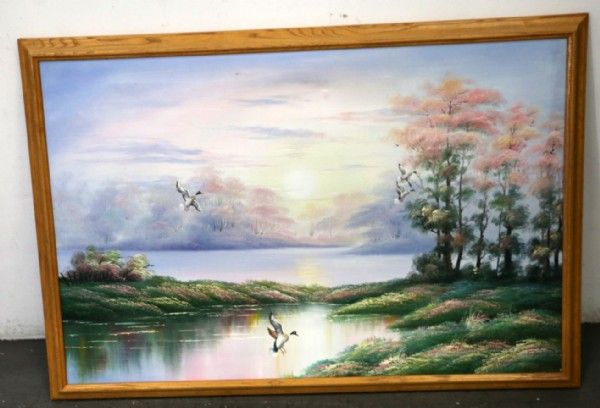 Landscape Flying Ducks Painting With Signature Painting Landscape Acrylic Artists