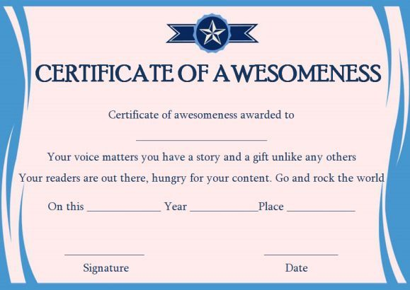 Certificate of Awesomeness Word Templates | Certificate of ...